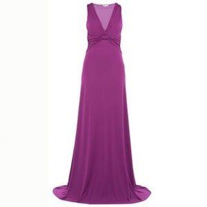 NWOT Etro Purple Deep V Maxi Dress Gown